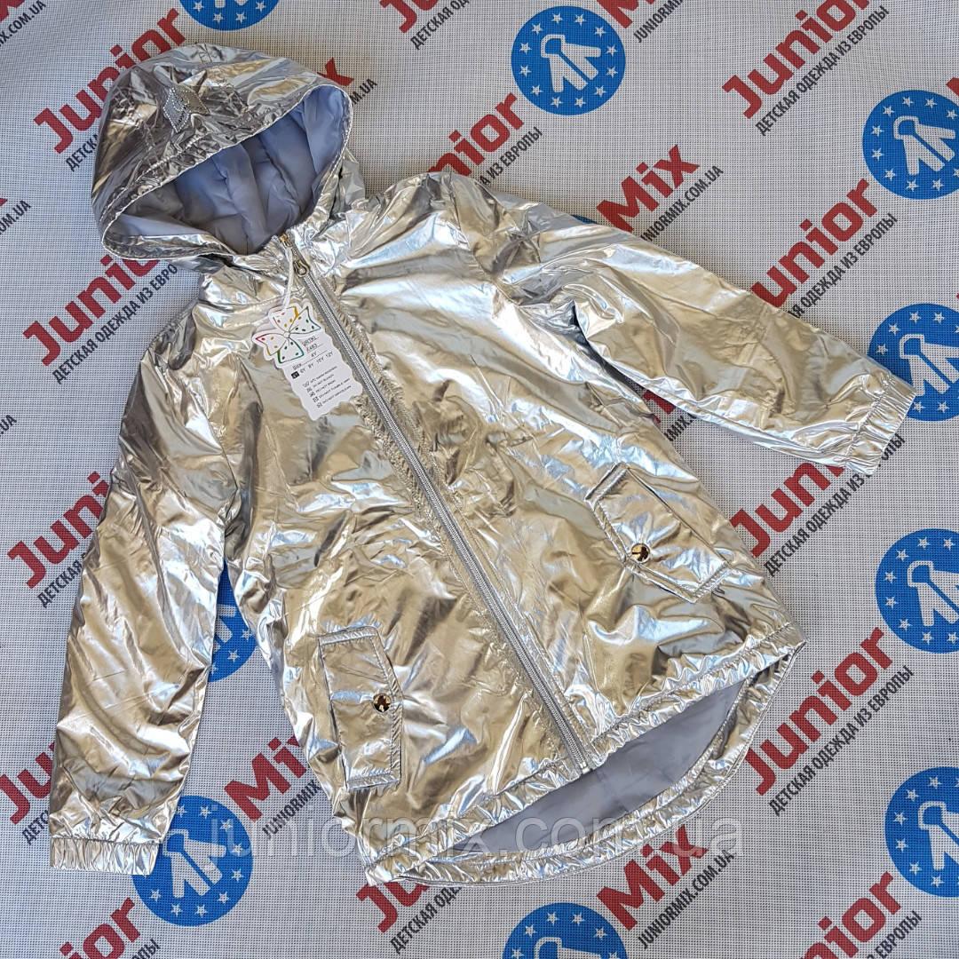 Детские весенние модные блистясчие куртки для девочек оптом