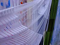 Белая тюль в полоску на фатине