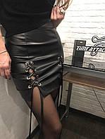 Женская юбка оптом кожаная со шнуровкой