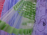 Стильная тюль полосками салатного цвета