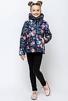 Демисезонная короткая куртка для девочки с цветочным принтом (2 расцветки)