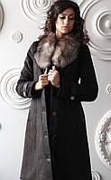 Модная женская дубленка средней длины Д-43 из искусственного дубляжа с натуральным мехом блюфрост., фото 1