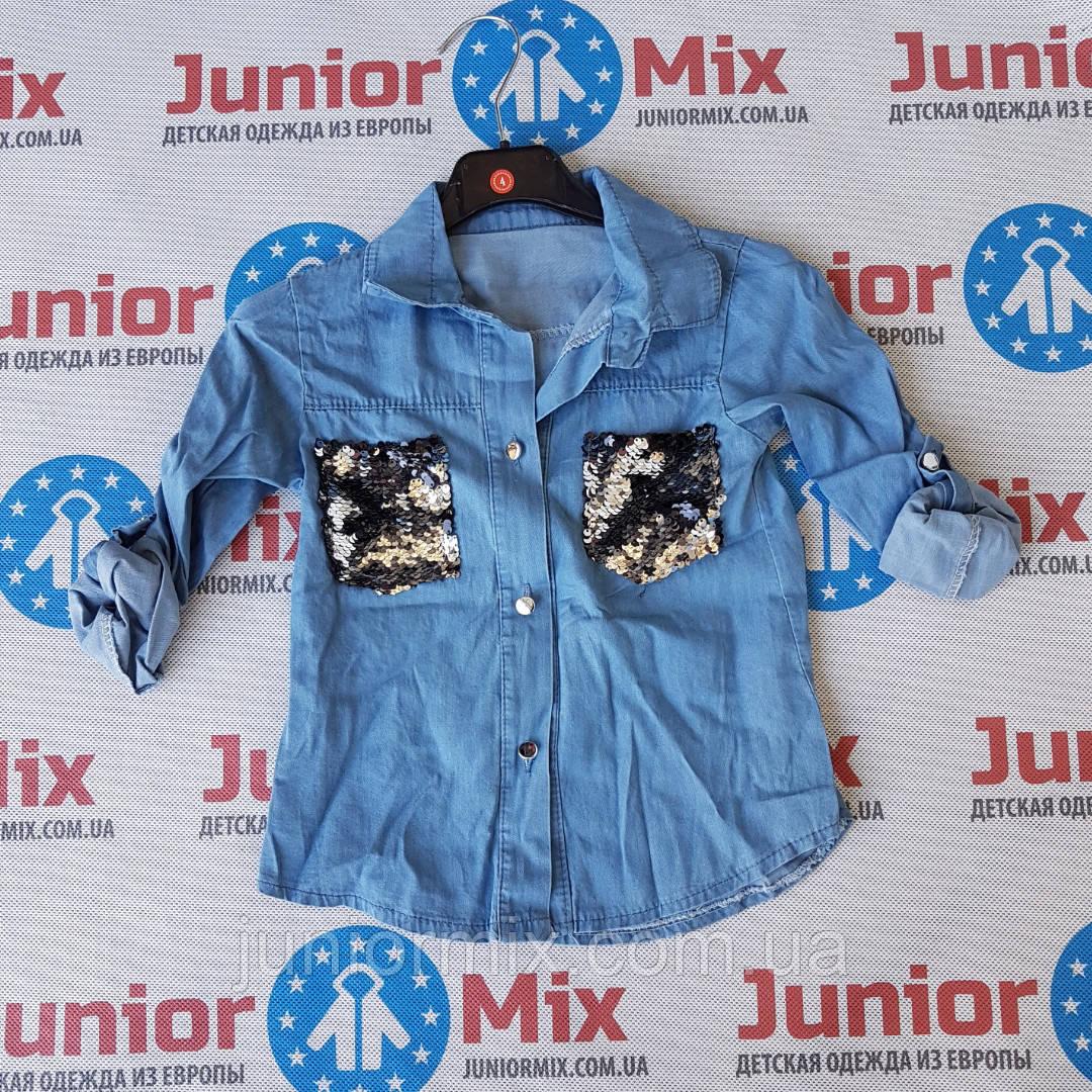 Детские джинсовые рубашки для девочек оптом