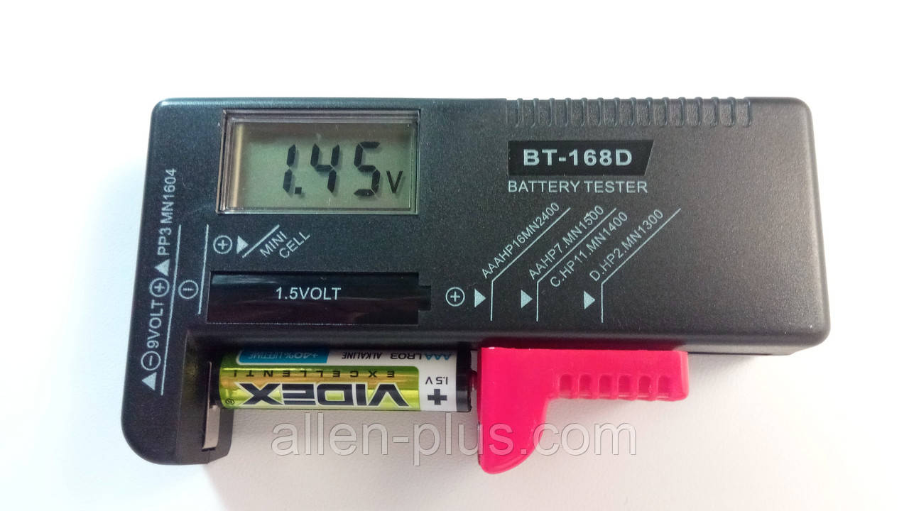Тестер батареек BT-168D (Цифровой, подходит для всех элементов 1,5В и 9В)