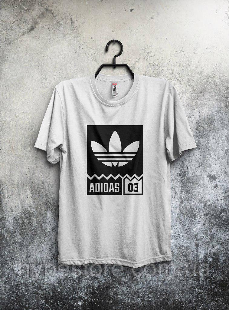 Хайповая футболка Adidas 03 (белый), Реплика
