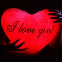 """Светящаяся подушка """"I love you"""" (красная)"""