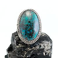 Хризоколла, нейзильбер филигрань, кольцо, 1057КЦХ