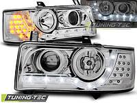 Фары VW T4 90-03.03 TRANSPORTER DAYLIGHT CHROME LED INDICATION