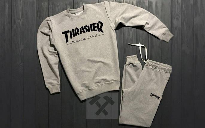 Костюм спортивный Trasher серый топ реплика, фото 2