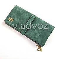 Модный женский кошелек клатч бумажник органайзер для телефона карточек денег зелёный