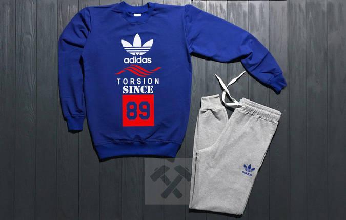 Костюм спортивный Adidas torsion since сине-серый топ реплика, фото 2