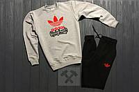 Костюм спортивный Adidas originals серо-черный топ реплика