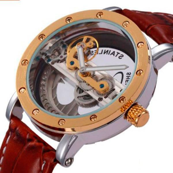 Мужские стильные часы Forsining Air Gold