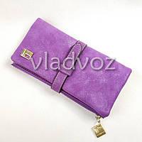 Модный женский кошелек клатч бумажник органайзер для телефона карточек денег фиолетовый