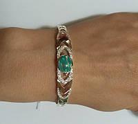 Браслет Креатив с зеленым опалом из серебра и золота