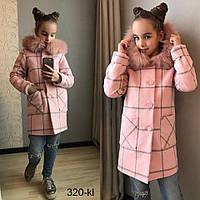 Детское тёплое шерстяное пальто в клетку с капюшоном для девочки