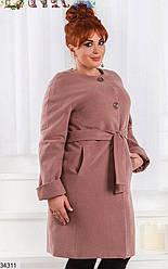 Пальто весеннее кашемировое с поясом XL + (3 цвета)