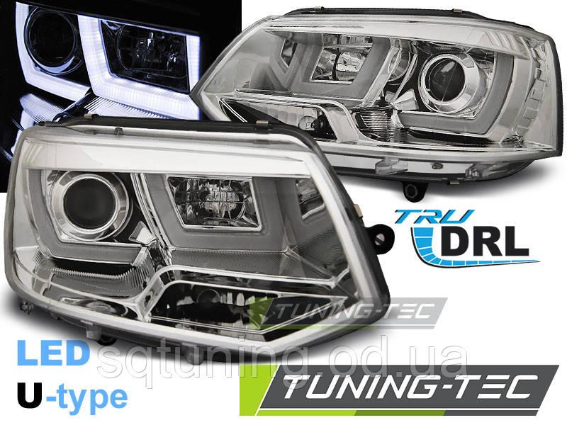 Фари VW T5 2010-2015 U-TYPE CHROME