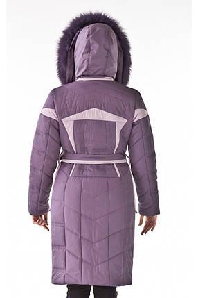 Женская зимняя куртка удлиненная с натуральным мехом, фото 2