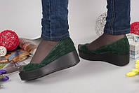 Женские туфли AVK на платформе с открытым носом кожаные/замшевые 0051АВМ