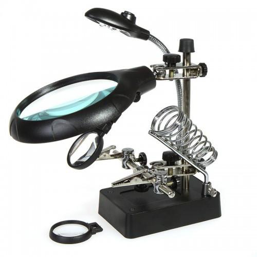 Третья рука ZD-126-3 (3Х + 2X + 5X увеличение) LED подсветка, c лупой 90 мм