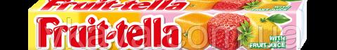 Жевательные конфеты Fruit-tella ассорти со вкусом клубники,апельсина,лимона, 41 гр