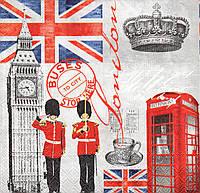 Салфетка для декупажа Британские атрибуты, 33х33 см