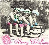 Салфетка для декупажа Дети на санях, винтаж, 33х33 см
