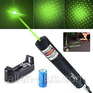 Лазерная указка Laser Pointer JD-851, зеленый лазер, аккумулятор 16340