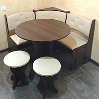 Компактный кухонный уголок Боярин с круглым столом и табуретами
