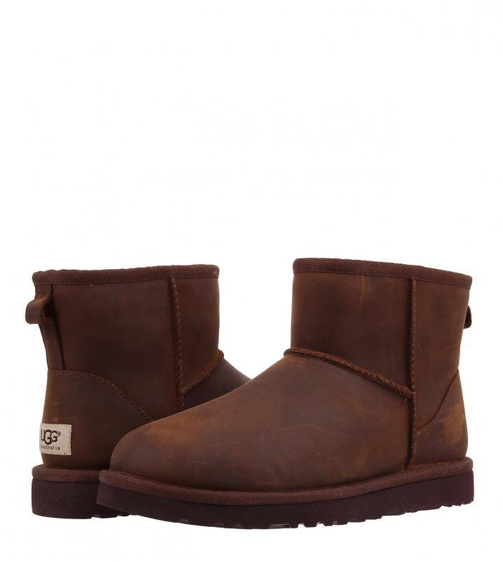 Мужские угги обувь UGG Classic Mini Leather Chestnot(1005587_CHE) M