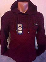 Мужской свитер DENIZ молодежный с капюшоном бордовый цвет