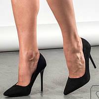 Туфли женские замшевые черные, р 38