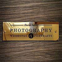Табличка из нержавейки Gold держатели, 300х100 мм, зеркало