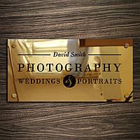 Табличка из нержавейки Gold держатели, 300х150 мм, зеркало