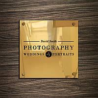 Табличка из нержавейки Gold держатели, 150х150 мм, зеркало