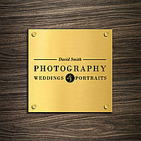 Табличка из нержавейки Gold держатели, 150х150 мм, мат