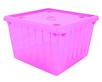 Емкость для хранения вещей с крышкой - 25 л розовая