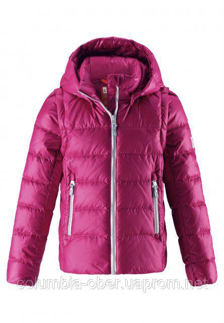 Куртка-жилетка пуховая для девочек 2в1 Reima MINNA 531290 - 3920. Размеры 104, 116-152., фото 1
