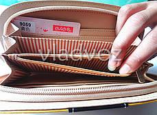 Модный женский кошелек клатч бумажник органайзер для телефона карточек денег собачка коричневый, фото 3