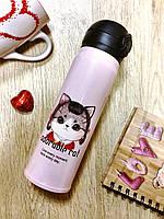 """Термос с котенком розовый """"аdorable cat"""",    подарок к 8 марта"""