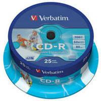 Диск CD-R 700Mb Verbatim 52x Printable Cake-25 43439