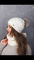 Набор. Шапка с помпоном из натурального меха, шерсть , мохер, тёплая , мягкая. Цвета в ассортименте. код 6049К