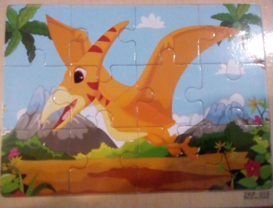 Деревянная игрушка Пазлы MD016 Летающий Динозавр, 17-14,5-0,5см
