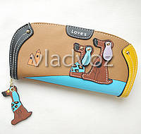 Модный женский кошелек клатч бумажник органайзер для телефона карточек денег собачка коричневый