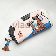 Модный женский кошелек клатч бумажник органайзер для телефона карточек денег собачка бежевый