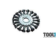 Щетка дисковая из плетённой проволоки; отверстие- 22,2мм MASTERTOOL 19-9012