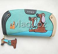 Модный женский кошелек клатч бумажник органайзер для телефона карточек денег собачка мята