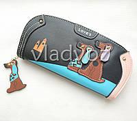Модный женский кошелек клатч бумажник органайзер для телефона карточек денег собачка черный
