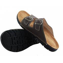 OrtoMed 3027 Коричневые, Пряжка - Мужские ортопедические  тапочки для проблемных ног